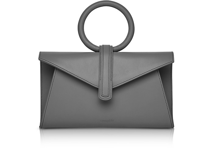 Cloud Grey Leather Valery Mini Clutch Bag w/Shoulder Strap - Complet