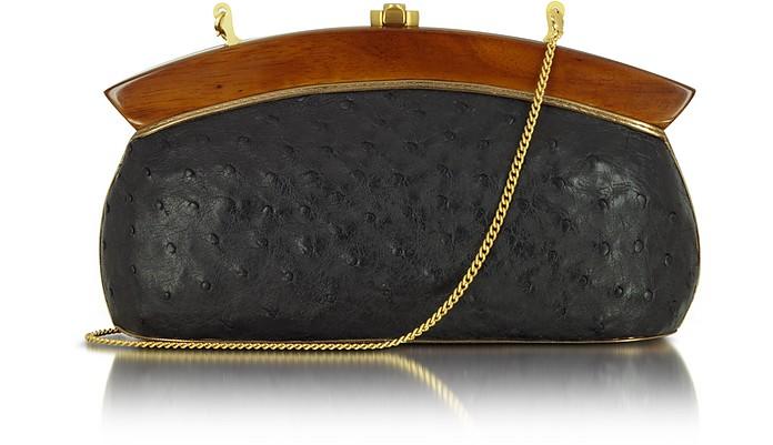 Elizabeth Black Ostrich Leather Clutch - Rocio