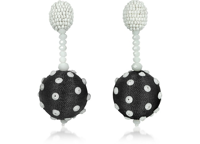 Polka Dot Sequin Single Ball Clip-On Earrings - Oscar de la Renta