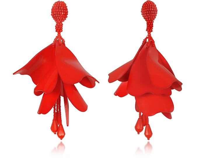 Large Impatiens Flower Drop Clip-On Earrings - Oscar de la Renta
