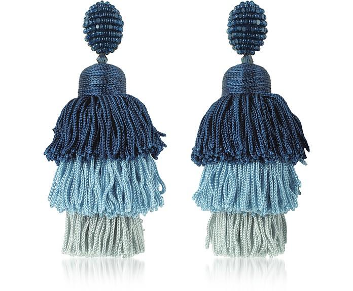 Oscar De La Renta Lapis Long Silk Tiered Tassel Earrings At Forzieri