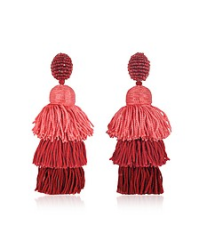 Long Silk Tiered Tassel Earrings - Oscar de la Renta