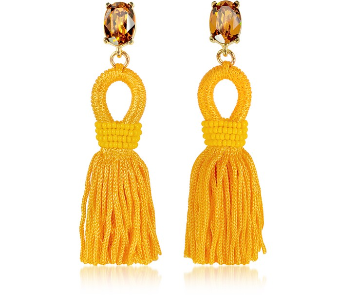 Short Silk Tassel Earrings - Oscar de la Renta