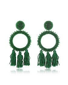 Large Beaded Circle With Tassel Earrings - Oscar de la Renta