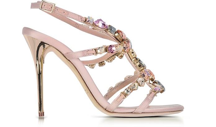 9034668003e Oscar de la Renta Imogene Nude Satin w Crystals High Heel Sandals 37 ...