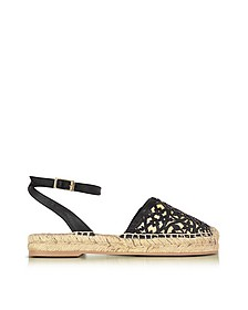 Tina Black & Beige Lasercut Leather and Raffia Espadrilles - Oscar de la Renta / オスカー デ ラ レンタ
