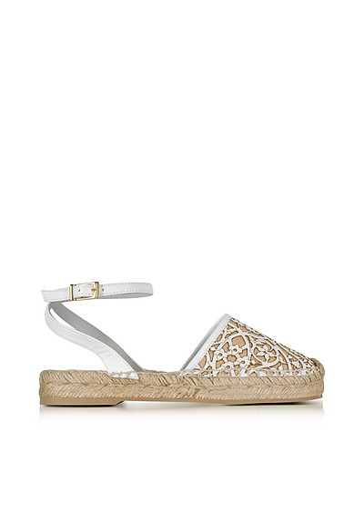 Tina White & Beige Lasercut Leather and Raffia Espadrilles - Oscar de la Renta