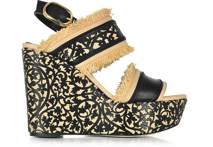 Talitha Black & Beige Lasercut Leather and Raffia Wedge Sandals - Oscar de la Renta