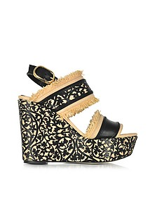 Talitha Black & Beige Lasercut Leather and Raffia Wedge Sandals - Oscar de la Renta