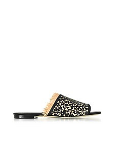 Charli Black & Beige Lasercut Leather and Raffia Slide Sandals - Oscar de la Renta