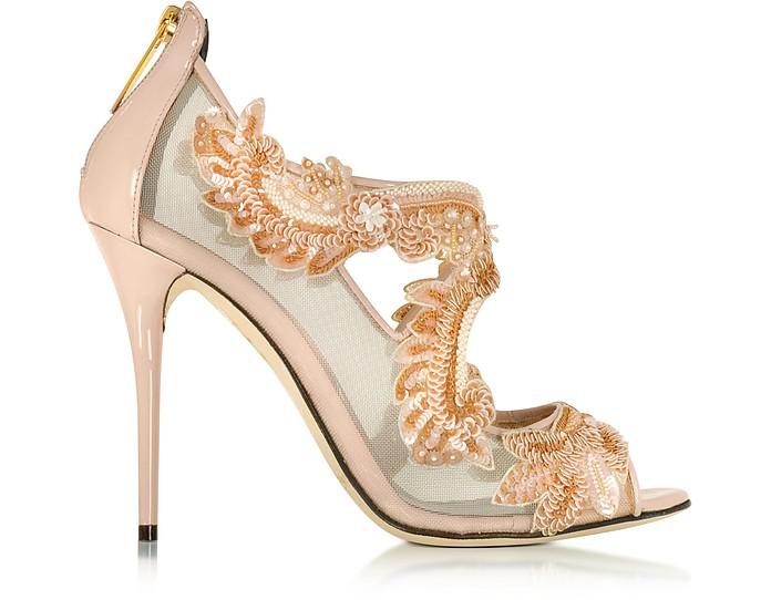 Ambria Bisque Mesh and Patent Leather High Heel Sandal - Oscar de la Renta