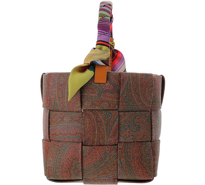Paisley Print Woven Coated Canvas Buchet Bag - Etro