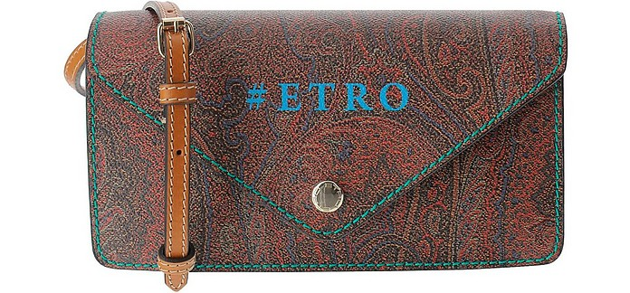 Paisley Jacquard Canvas Flap Front Crossbody Bag - Etro