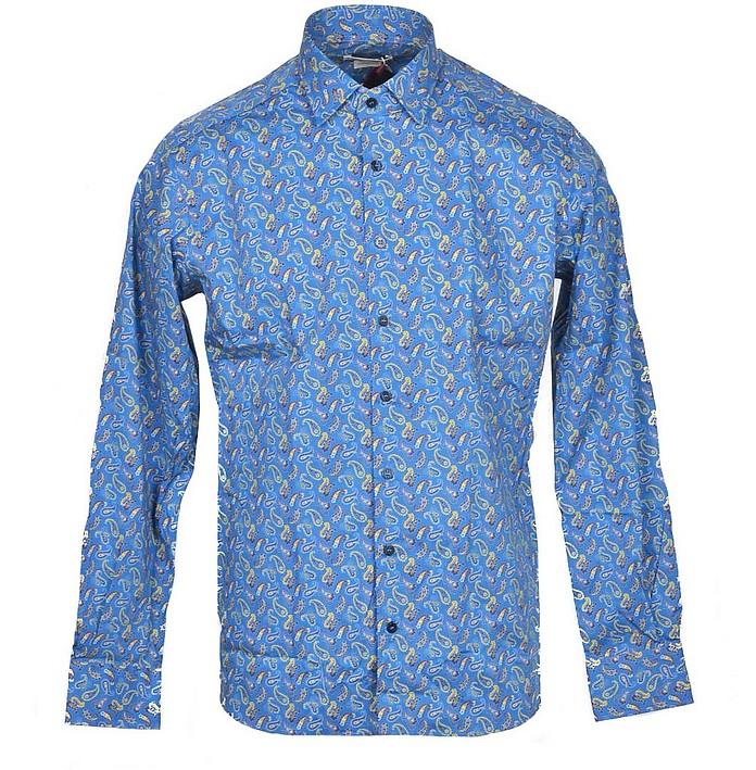 Blue Paisley Print Cotton Blend Men's Shirt - Etro