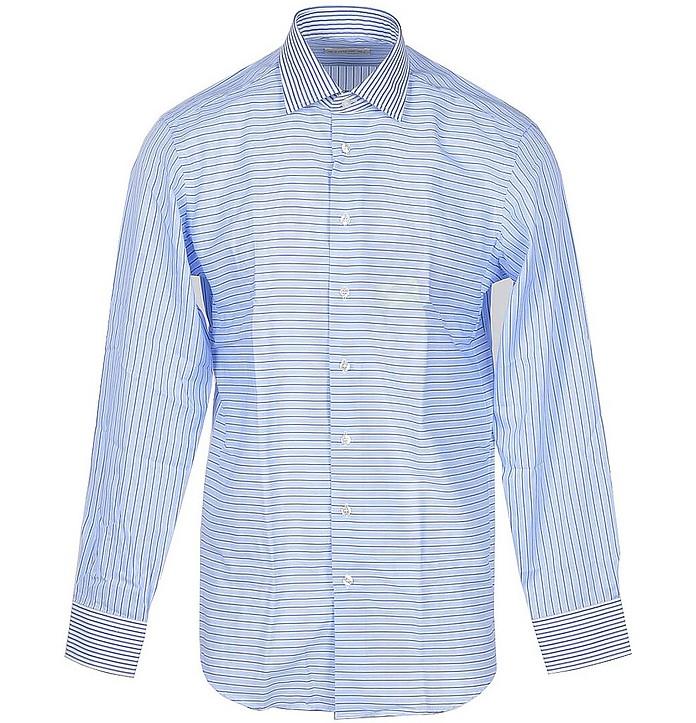Sky Blue Striped Cotton Men's Shirt - Etro