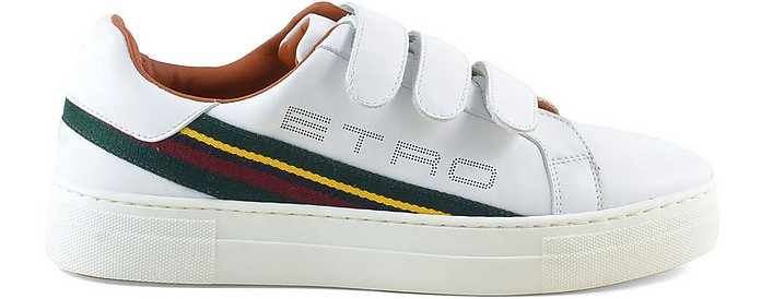 White Signature Women's Sneakers w/Straps - Etro