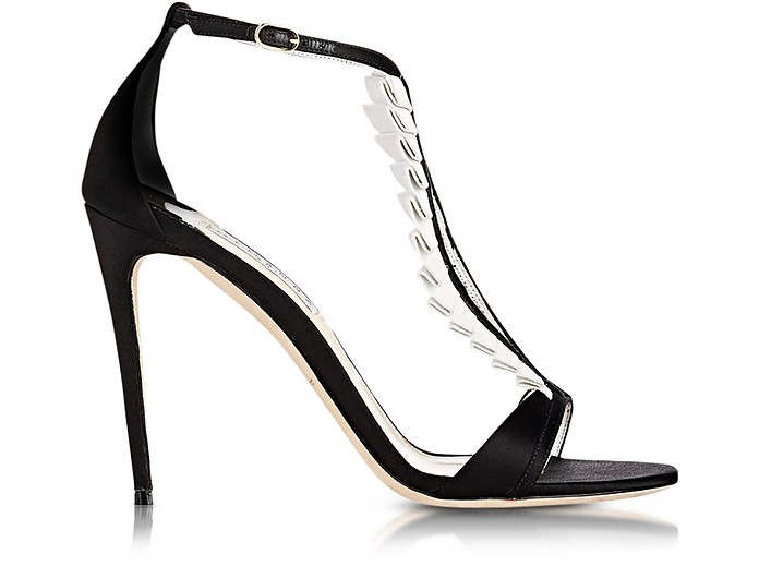 La Sensuelle Black & White Leather & Satin Sandal - Olgana Paris
