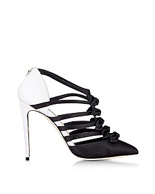La Malicieuse Black & White Satin Pump - Olgana Paris