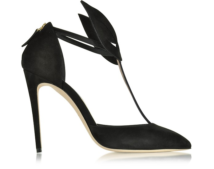 Le Masque Black Suede and Satin Pump - Olgana Paris