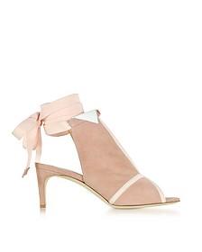 La Jolie Pink Suede Mid-Heel Sandals - Olgana Paris