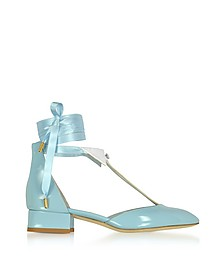 L'Ideal Baby Blue Patent Leather Mid-Heel Pump - Olgana Paris