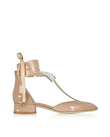 L'Ideal Nude Patent Leather Mid-Heel Pump - Olgana Paris