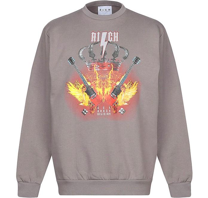 Mud Gray Printed Cotton Men's Sweater - John Richmond