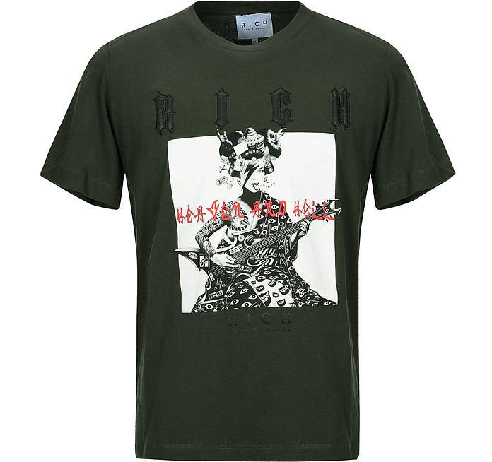 Deep Forest Printed Cotton Men's T-Shirt - John Richmond