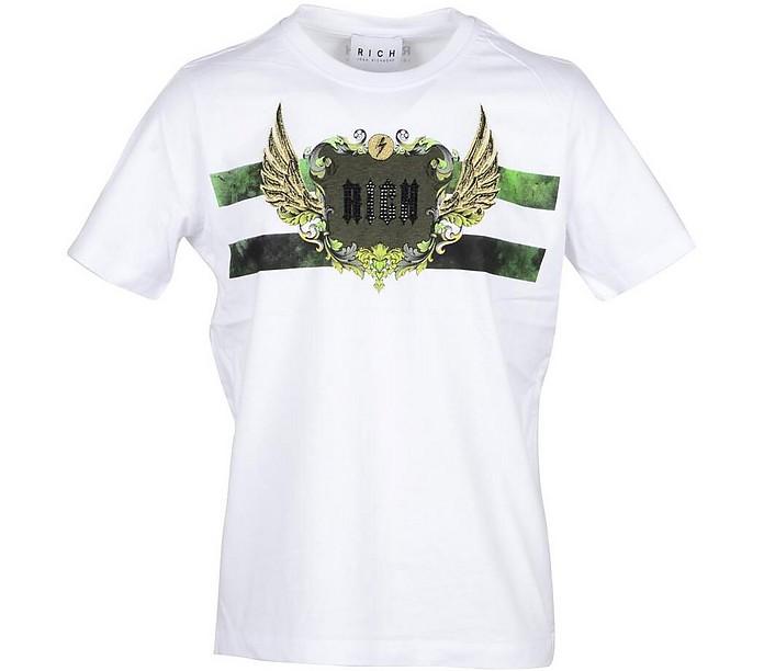 Wings Print White Cotton Men's T-shirt - John Richmond
