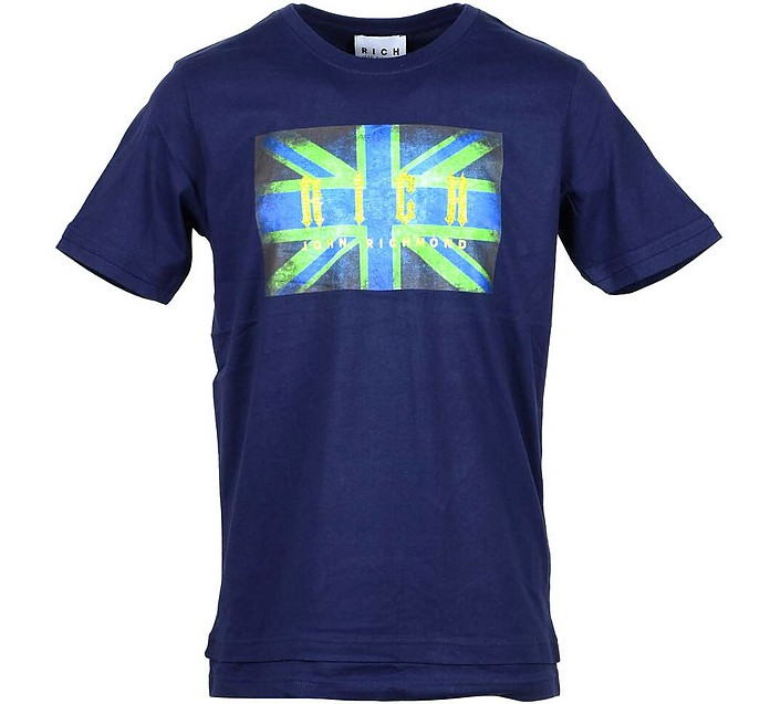 Flag Print Blue Cotton Men's T-shirt - John Richmond