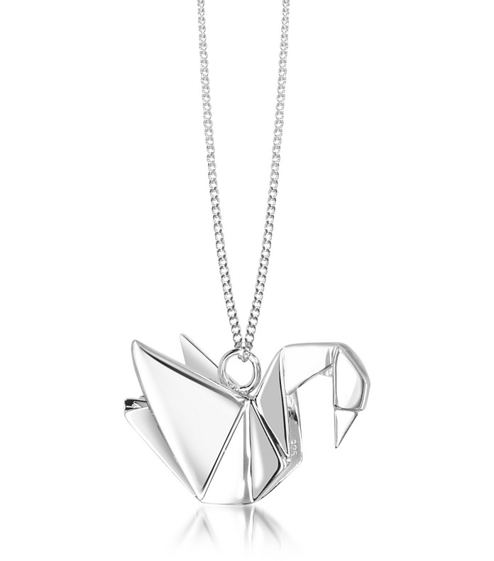 Sterling Silver Swan Pendant Long Necklace - Origami