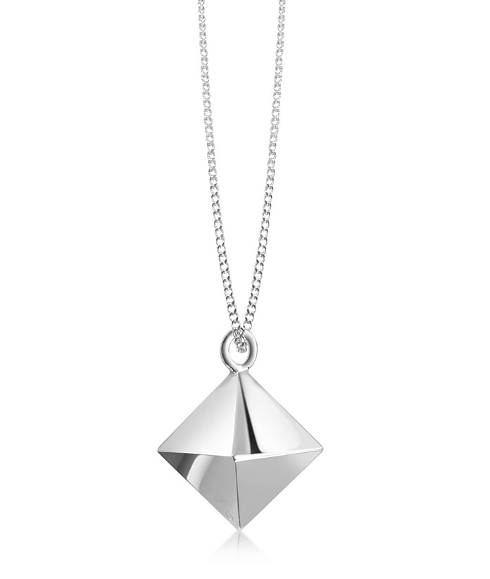 Sterling Silver Decagem Pendant Long Necklace - Origami