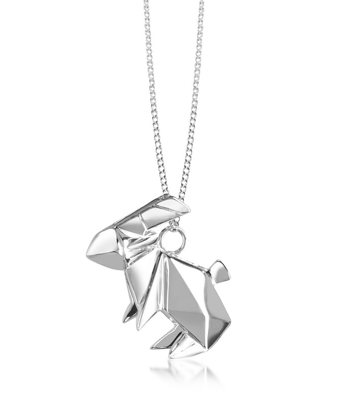 Sterling Silver Rabbit Pendant Long Necklace - Origami