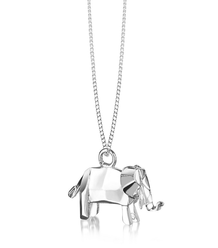 Sterling Silver Elephant Pendant Necklace - Origami