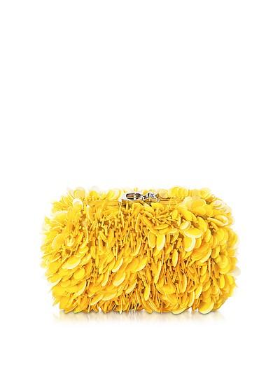 Susan C Star Yellow Explosion Nappa Leather Pochette w/Chain Strap - Corto Moltedo