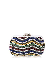 Susan C Star White Nappa Leather and Multicolor Stones Pochette w/Chain Strap - Corto Moltedo