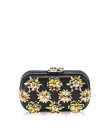 Susan C Star Black Nappa Leather and Gold Flowers Crystals Pochette w/Chain Strap - Corto Moltedo