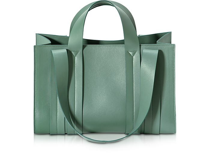 Costanza Beach Club Medium Sage Nappa Leather Tote - Corto Moltedo