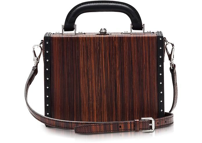 Black Wood Effect Leather Mini Squared Bertoncina Bag - Bertoni 1949
