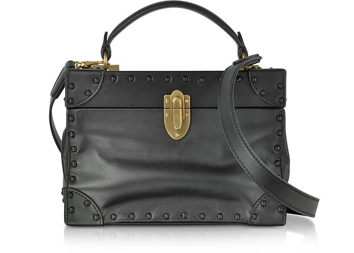 Black Leather Soft Bertoncina Satchel Bag w/French Leather Covered Studs - Bertoni 1949