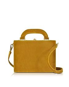 Mustard Velvet Mini Squared Bertoncina Satchel Bag - Bertoni 1949