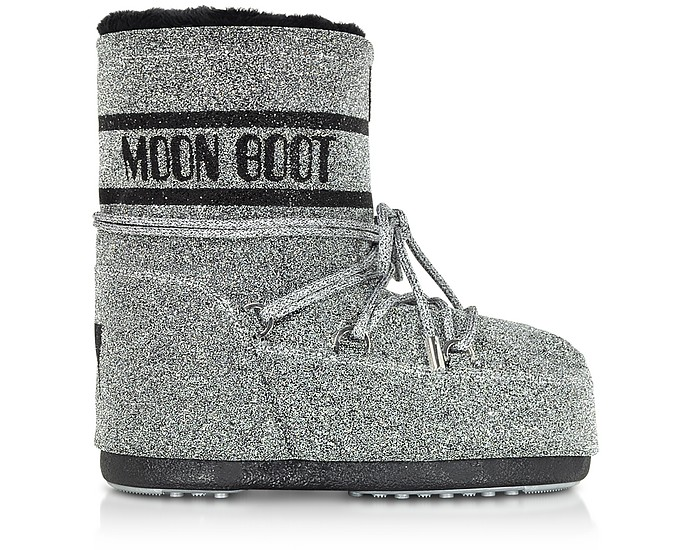 Classic 50 Silver and Black Swarovski Boots - Moon Boot