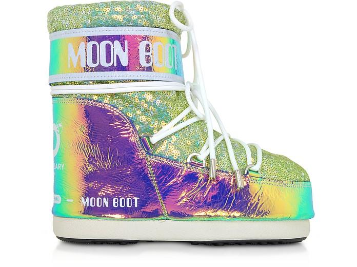 Classic 50 Aquamarine Leather Hologram Boots - Moon Boot