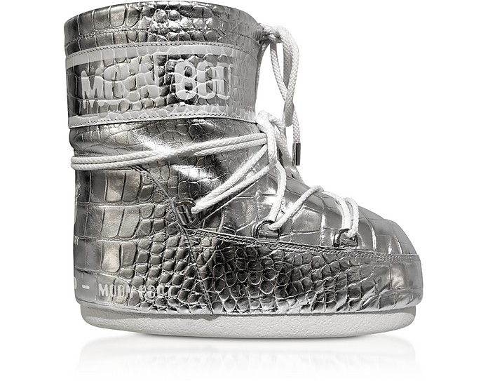 Classic 50 Silver Crocodile Low Boots - Moon Boot