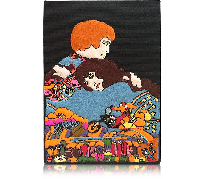 Romeo & Juliet Cotton Coated Brass Book Clutch - Olympia Le-Tan