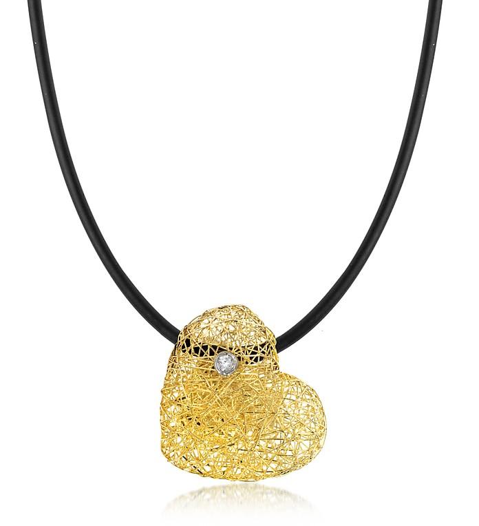 Heart Halskette aus Gelbgold mit Diamanten besetzt - Orlando Orlandini