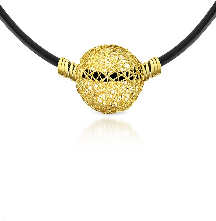 Arianna - 18K Yellow Gold Wire Pendant Rubber Necklace - Orlando Orlandini