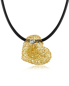Arianna - Small Diamond Heart Pendant w/Rubber Lace - Orlando Orlandini