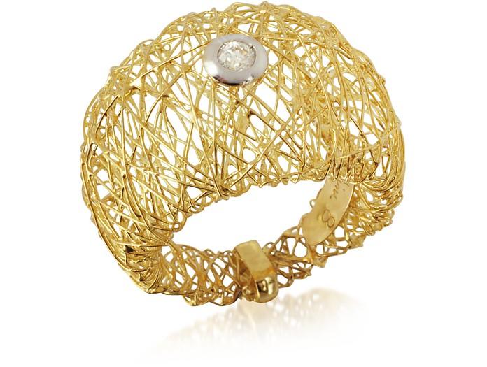 Ariannah - Breiter Ring aus 18k Gold mit rundem Diamant - Orlando Orlandini