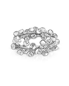 Diamond Studs 18K White Gold Band Ring  - Orlando Orlandini